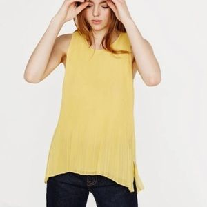 Zara Yellow Pleated Sleeveless Blouse